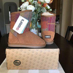 Lamo Kids Plaid Brown Fur Lined Boots Girls 1